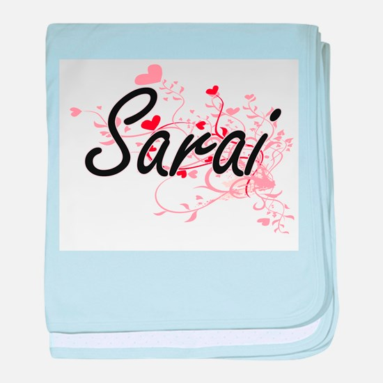 Sarai Artistic Name Design with Heart baby blanket