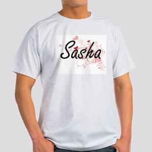 Sasha Artistic Name Design with Hearts T-Shirt