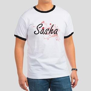 Sasha Artistic Name Design with Hearts T-Shirt