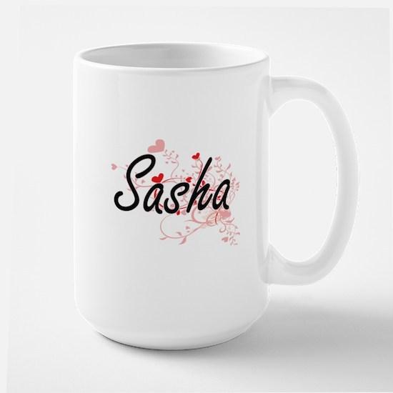 Sasha Artistic Name Design with Hearts Mugs