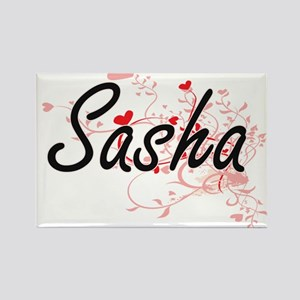 Sasha Artistic Name Design with Hearts Magnets