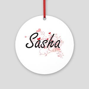 Sasha Artistic Name Design with H Ornament (Round)