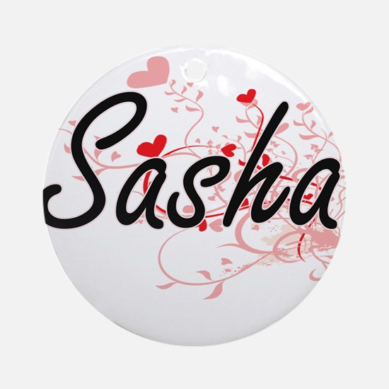 Sasha Artistic Name Design with H Ornament (Round)