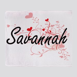 Savannah Artistic Name Design with H Throw Blanket