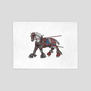 Steampunk the War Horse 5'x7'Area Rug