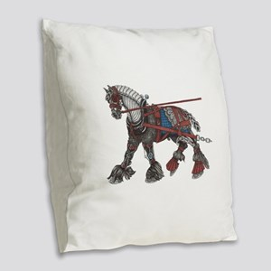 Steampunk the War Horse Burlap Throw Pillow