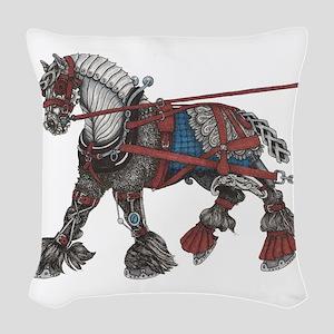 Steampunk the War Horse Woven Throw Pillow