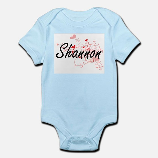 Shannon Artistic Name Design with Hearts Body Suit