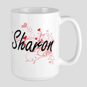Sharon Artistic Name Design with Hearts Mugs