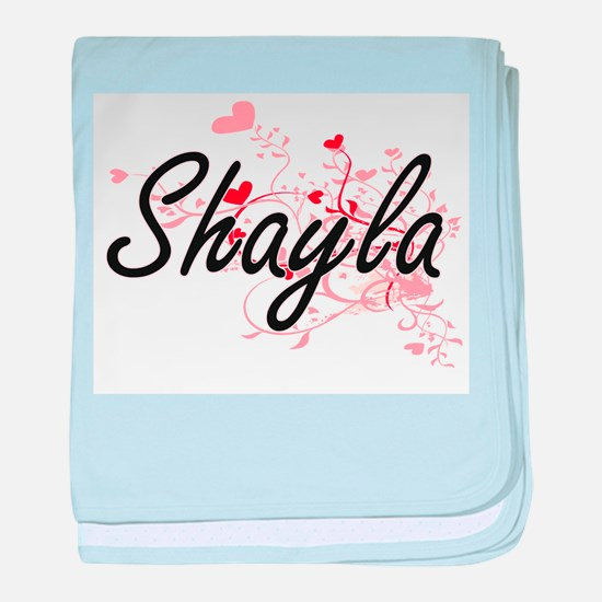 Shayla Artistic Name Design with Hear baby blanket