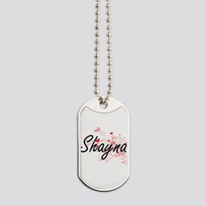 Shayna Artistic Name Design with Hearts Dog Tags