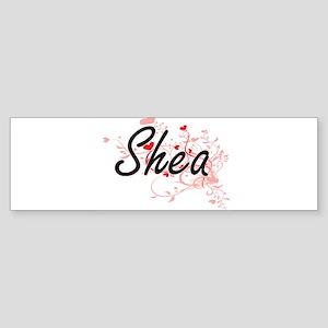 Shea Artistic Name Design with Hear Bumper Sticker