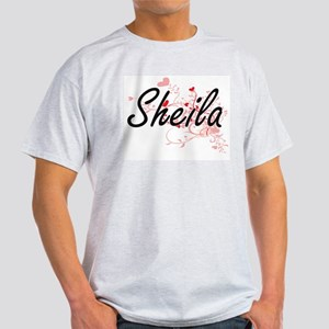 Sheila Artistic Name Design with Hearts T-Shirt