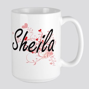 Sheila Artistic Name Design with Hearts Mugs