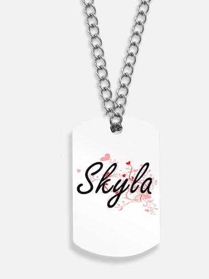 Skyla Artistic Name Design with Hearts Dog Tags