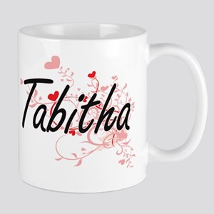 Tabitha Artistic Name Design with Heart Mug