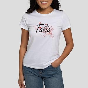 Talia Artistic Name Design with Hearts T-Shirt
