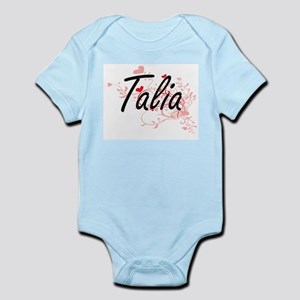 Talia Artistic Name Design with Hearts Body Suit