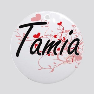 Tamia Artistic Name Design with H Ornament (Round)