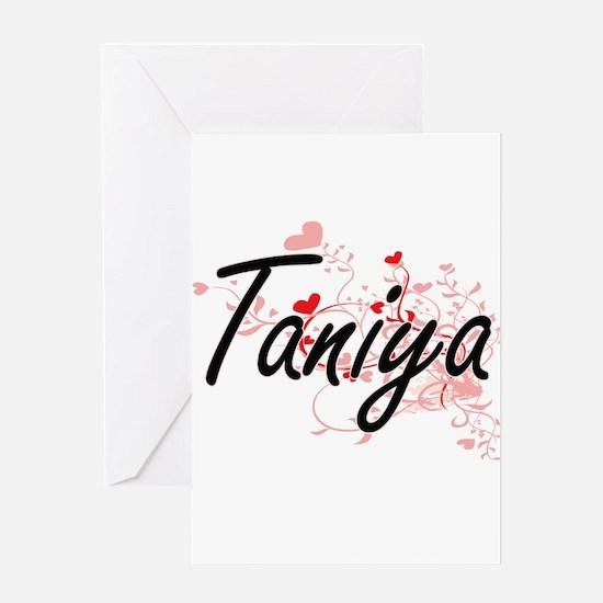 Taniya Artistic Name Design with He Greeting Cards