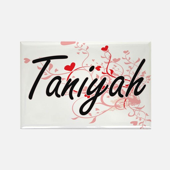 Taniyah Artistic Name Design with Hearts Magnets