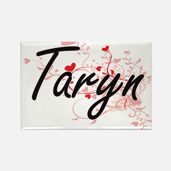 Taryn Artistic Name Design with Hearts Magnets