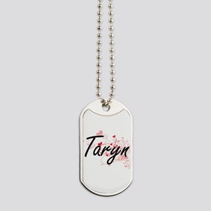 Taryn Artistic Name Design with Hearts Dog Tags
