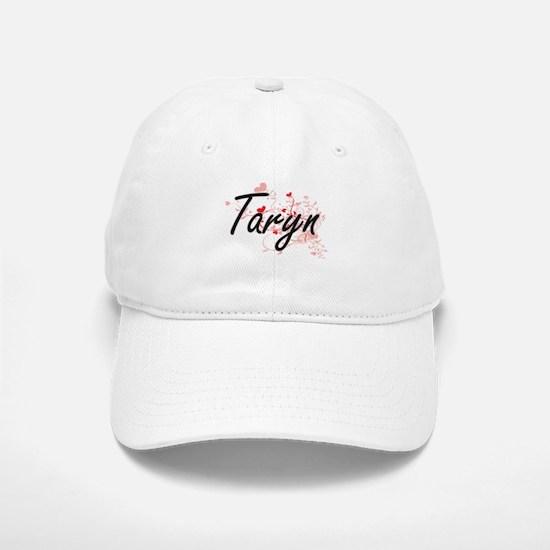 Taryn Artistic Name Design with Hearts Baseball Baseball Cap