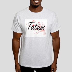 Tatum Artistic Name Design with Hearts T-Shirt