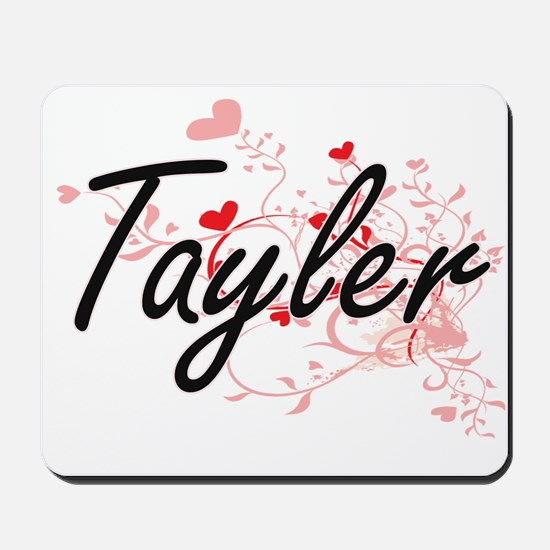 Tayler Artistic Name Design with Hearts Mousepad