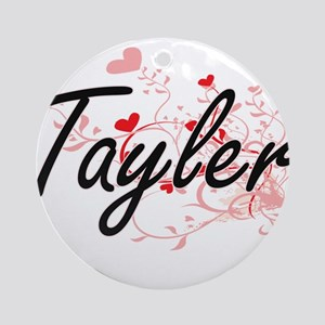 Tayler Artistic Name Design with Ornament (Round)