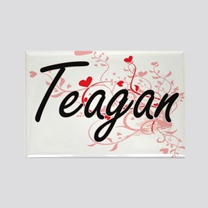 Teagan Artistic Name Design with Hearts Magnets