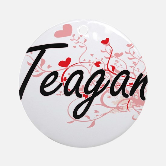Teagan Artistic Name Design with Ornament (Round)