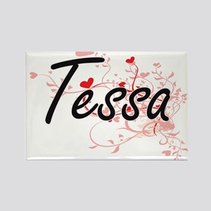 Tessa Artistic Name Design with Hearts Magnets