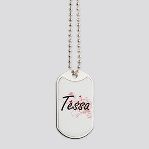 Tessa Artistic Name Design with Hearts Dog Tags