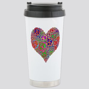 Peace Sign Heart Stainless Steel Travel Mug