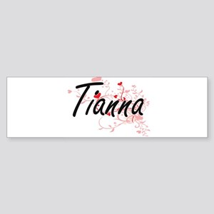 Tianna Artistic Name Design with He Bumper Sticker
