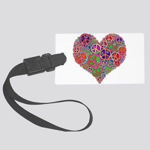 Peace Sign Heart Large Luggage Tag