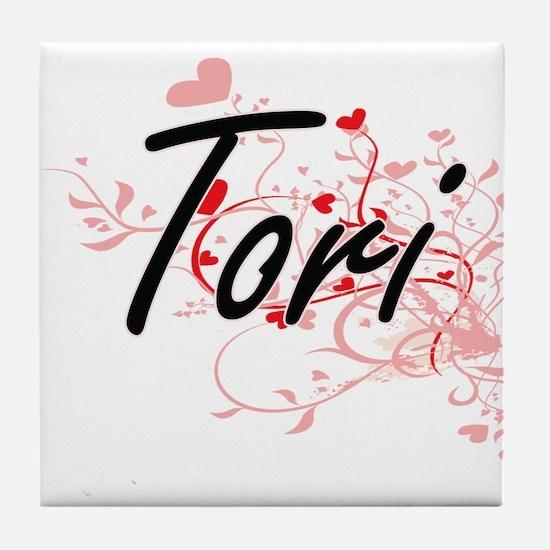 Tori Artistic Name Design with Hearts Tile Coaster