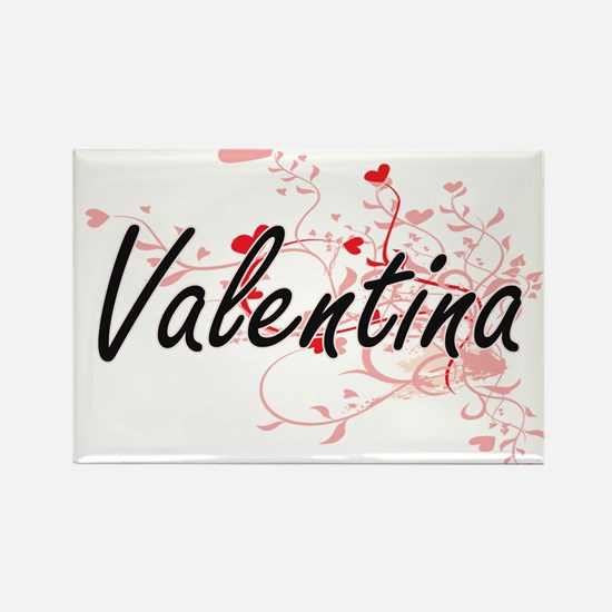 Valentina Artistic Name Design with Hearts Magnets
