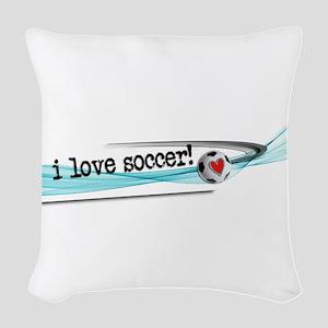 I love soccer double swish Woven Throw Pillow