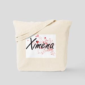 Ximena Artistic Name Design with Hearts Tote Bag