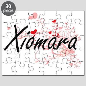 Xiomara Artistic Name Design with Hearts Puzzle