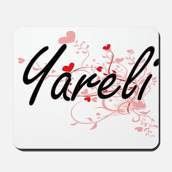 Yareli Artistic Name Design with Hearts Mousepad