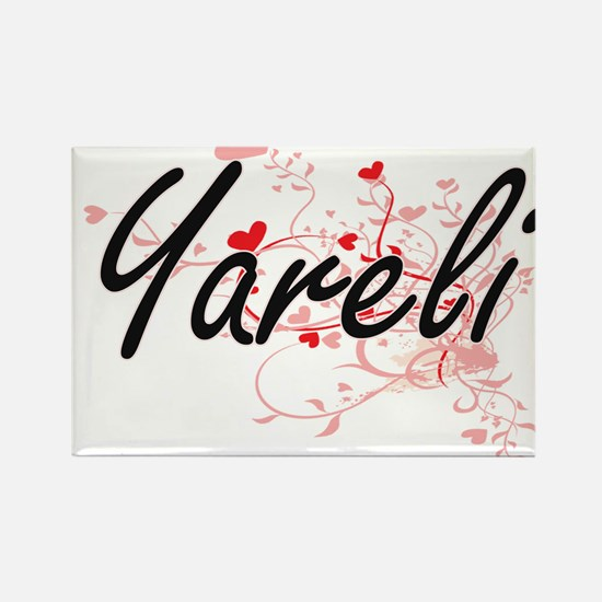 Yareli Artistic Name Design with Hearts Magnets