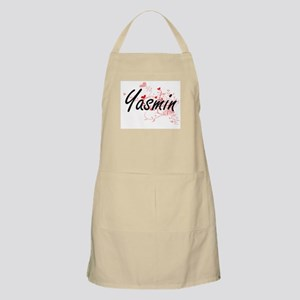 Yasmin Artistic Name Design with Hearts Apron
