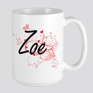 Zoe Artistic Name Design with Hearts Mugs