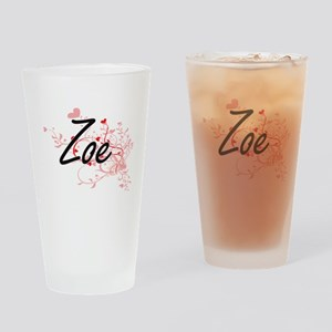 Zoe Artistic Name Design with Heart Drinking Glass
