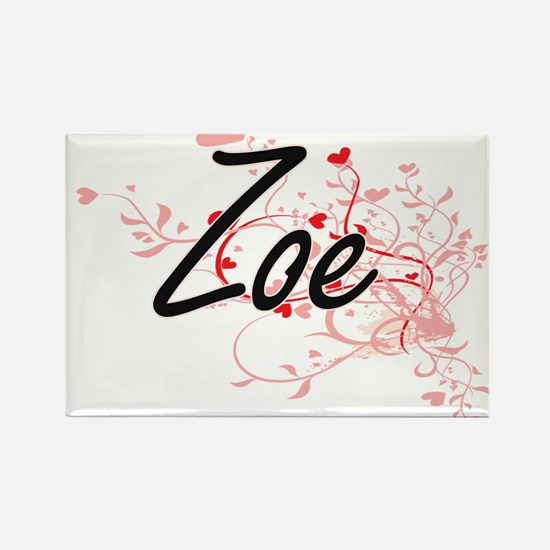 Zoe Artistic Name Design with Hearts Magnets