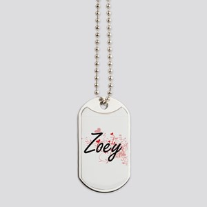 Zoey Artistic Name Design with Hearts Dog Tags